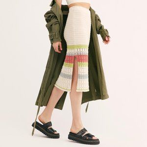Free People Far From Here Crochet MIdi Skirt